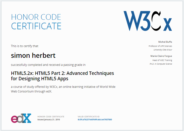 EDx & W3Cx HTML5.2X HTML5 PART 2 Advanced Techniques for Designing HTML5 Apps cert