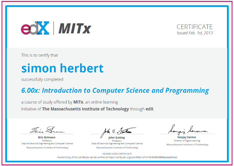 MITx Introduction to Computer Science and Programming with Python 6.000 cert